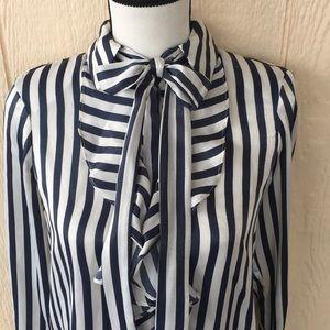 Zara basic collection striped blouse bow detail